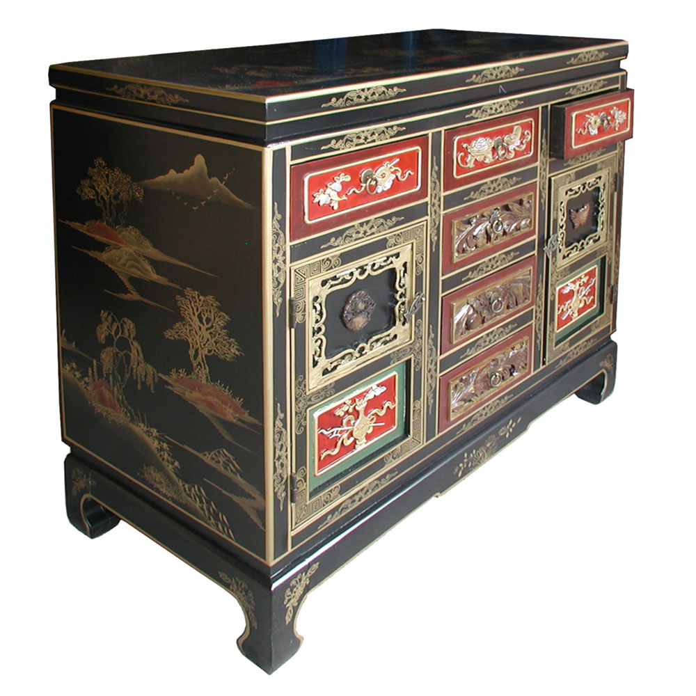 Chinese black lacquer cabinet for Chinese black lacquer furniture