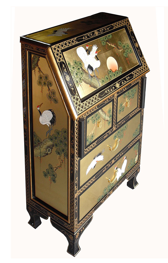 chinese gold leaf bureau. Black Bedroom Furniture Sets. Home Design Ideas