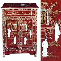 Chinese Red Lacquer Mother of Pearl Furniture