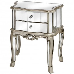 Mirrored Two Drawer Bedside Table