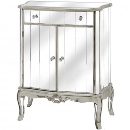 Mirrored One Drawer Two Door Cabinet