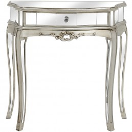 Mirrored One Drawer Half Moon Console