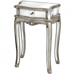 Mirrored Single Drawer Lamp Table