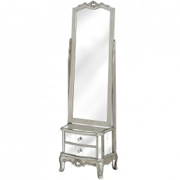 Mirrored Cheval Mirror With Two Drawers