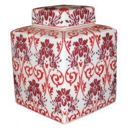 Red Floral Chinese Pot