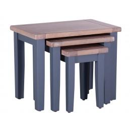Chalk Downpipe Oak Nest of 3 Tables