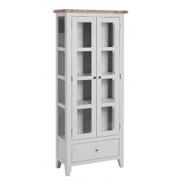 Chalk Grey Oak Display Cabinet