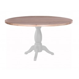 Chalk Grey Oak Round Pedestal Table