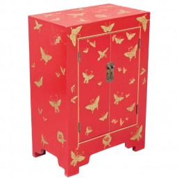 Chinese Butterfly Red Cabinet