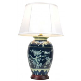 Chinese Table Lamp Dark Blue (Pair)