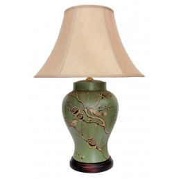Chinese Table Lamp Green Birds (Pair)