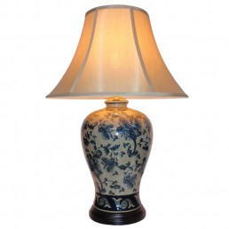 Chinese Table Lamp Hibiscus (Pair)