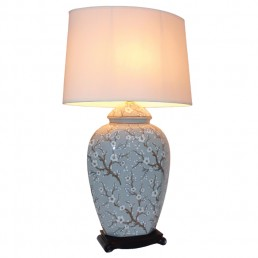 Chinese Table Lamp White Flora (Pair)