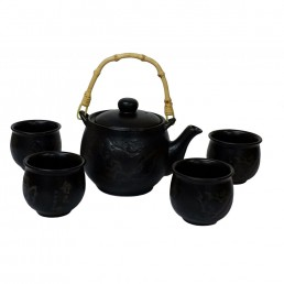 Chinese Etched Plum Teaset