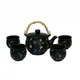 Chinese Etched Cherry Teaset