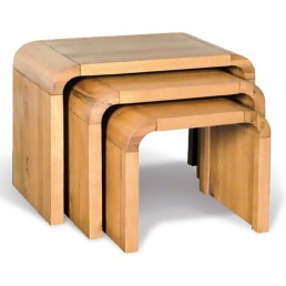 Clover Curved Oak Nest Of 3 Tables