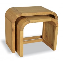 Clover Curved Oak Nest of 2 Tables