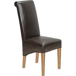 Cuba Oak Leather Chair Brown