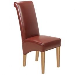 Cuba Oak Leather Chair Red