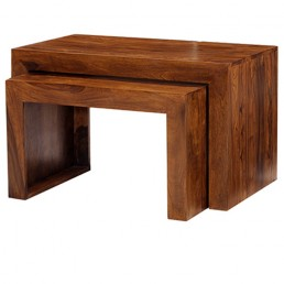 Cuba Cube Sheesham Table Nest