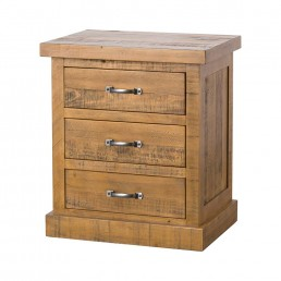 Rustic 3 Drawer Bedside