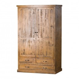 Rustic Three Drawer Two Door Wardrobe