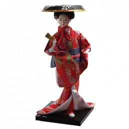 Japanese Hat Dancing Geisha Doll