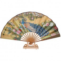 Chinese Peacocks and Peonies Fan