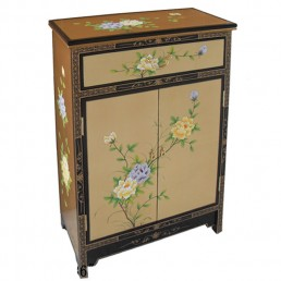 Chinese-Euro Gold Lacquer Cabinet