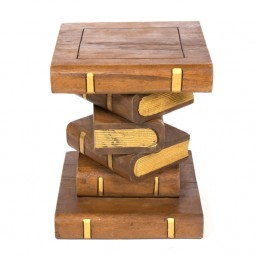 Book Stack Table Waxed Gold