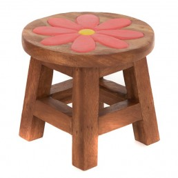 Childs Stool – Pink Flower