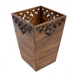 Carved Wooden Waste Bin – Large