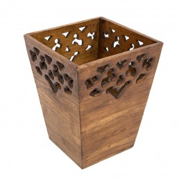 Carved Wooden Waste Bin – Small