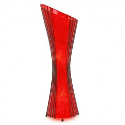 Oval Bamboo & Red Floor Lamp