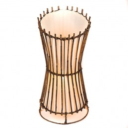 Round Rattan Top Cut Table Lamp