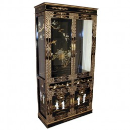 Chinese Black Display Cabinet Large