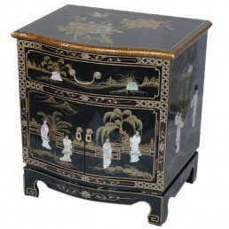 Chinese Black Lacquer Bow Cabinet