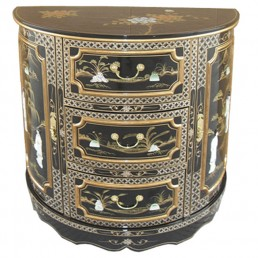 Chinese Black Demi Cabinet
