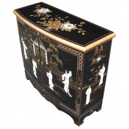 Chinese Black Curved Cabinet
