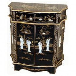 Chinese Black Sculpted Cabinet