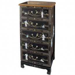 Chinese Black Tallboy Chest