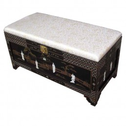Chinese Black Lacquer Ottoman