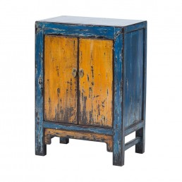 Chinese Blue Yellow Cabinet