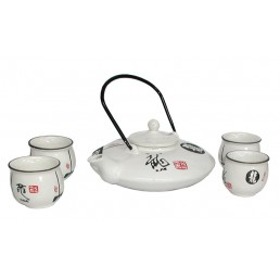 Chinese White Gloss Teapot Set