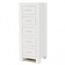 White Cube 5 Drawer Chest