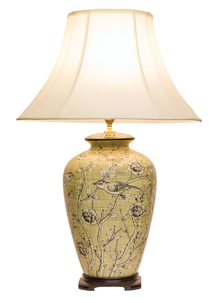 Chinese Table Lamp Blossoms Pair