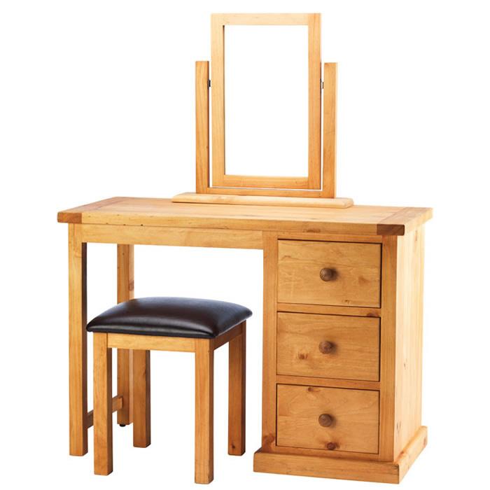 Chunky pine dressing table set