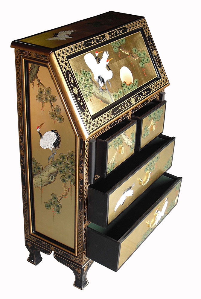 chinese gold lacquer bureau. Black Bedroom Furniture Sets. Home Design Ideas