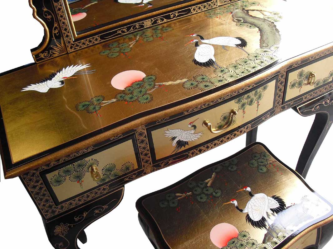 Chinese Gold Dressing Table Set