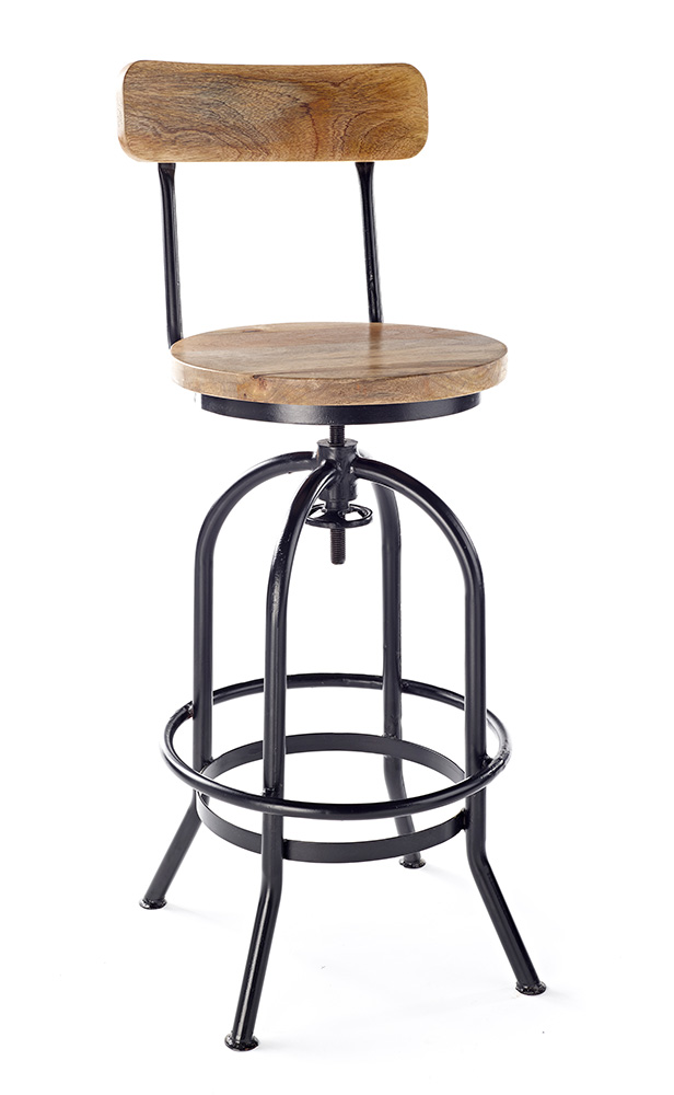 Industria Wood Top Bar Stool 2